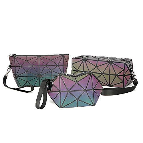 AIBKHK Luminous Womens Handbag Makeup Bag Lattice Design Geometric Bag Unique Purses Cell Phone Purse