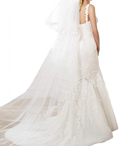 Toscana sposa Glamour sposa moda Mermaid punta, & tulle principessa sposa extra lungo tempo un'altezza vestimento avorio 44