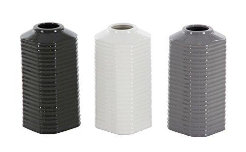 Deco 79 87730 Ribbed Hexagonal-Prism Ceramic Vases (Set of 3) 4