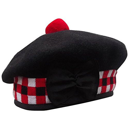 New Scottish Highland 3 Color Diced Black Wool Balmoral With Red Pompom On Top  56Cm