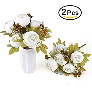 Bomarolan Fake Flowers Vintage Artificial Peony Bouquet Silk Wedding Flower, Pack of 2 Home Party Festival Decoration(White) 105