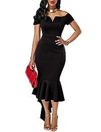 KISSMODA Cap Sleeve Evening Dress for Women Off Shoulder Ruffles