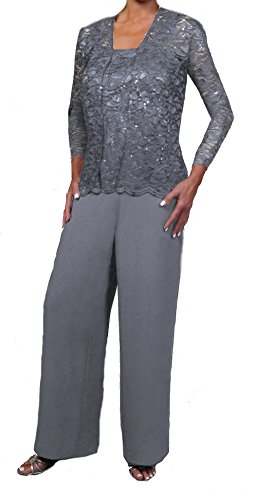 Love My Seamless Elegant Mother Of The Bride Formal 3 Piece Pant Suit Lightly Beaded Lace (3X, Silver) by Love My Seamless