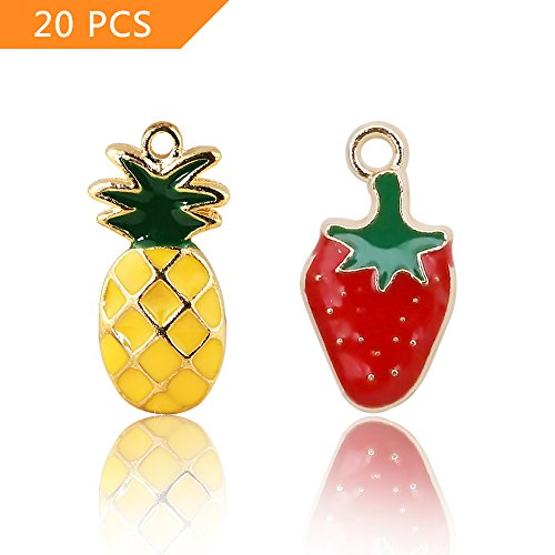 - 20 pcs Straberry Charms and Pineapple Charms, Fruit Shaped Jewelry Making Pendants, Cute Alloy Beads for Earring, Necklace, Bracelet Jewelry Making and Crafting