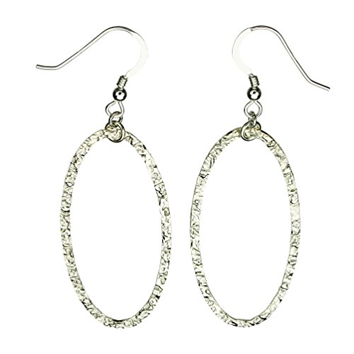 Sterling Silver Flat Hammered Oval Large Links Earrings Italy (Hammered Earrings Silver Oval)