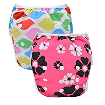 Babygoal 2 Pack Reusable Swim Diapers For Girls Washable And Adjustable Swimming Baby
