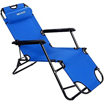 Ancheer Chaise Lounge Folding Lounge Chair Portable Cot with Adjustable Pillow for Beach Garden Patio (  sc 1 st  Amazon.com : chaise lounge folding - Sectionals, Sofas & Couches