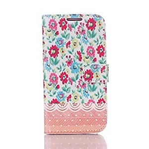 LHY Flower Print Faux Leather Flip Case with Card Slots & Stand for Samsung Galaxy S4 I9500