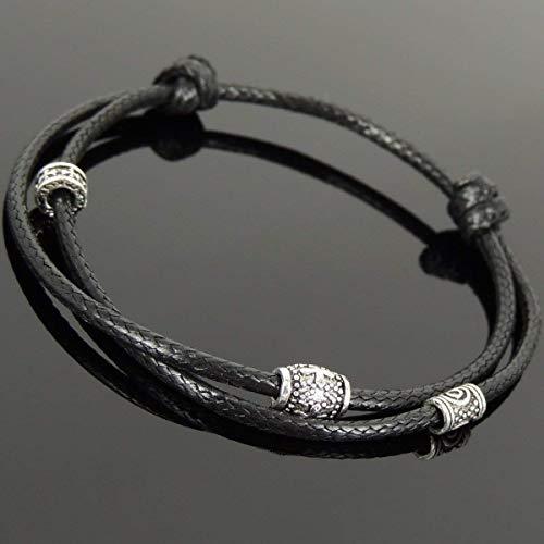 Men and Women Adjustable Braided Drawstring Bracelet Handmade with Genuine 925 Sterling Silver Cross Bead, Cross Spacer & Korea Wax Rope