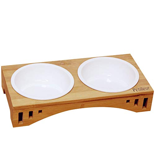 Petilleur Basic Cat Bowls with Wooden Stand Pet Dining Table Cat Feeder with Raised Bamboo Stand for Cats and Puppy (Double - Cat Bowl Bamboo