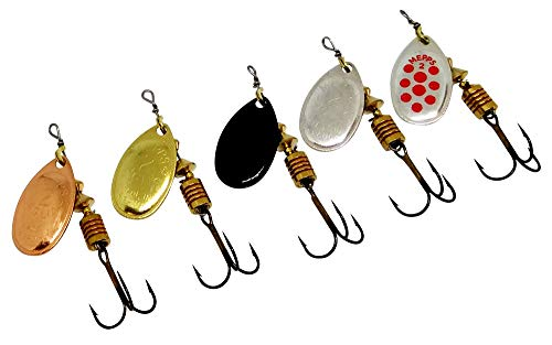 Fishing Spinners Set of 5, Best selections from Mepps, Savage Gear, Blue Fox - Best Lures for Bass, Trout, Salmon, Crappie and Musky Fishing (#2, S/G/C/BL/SRD)