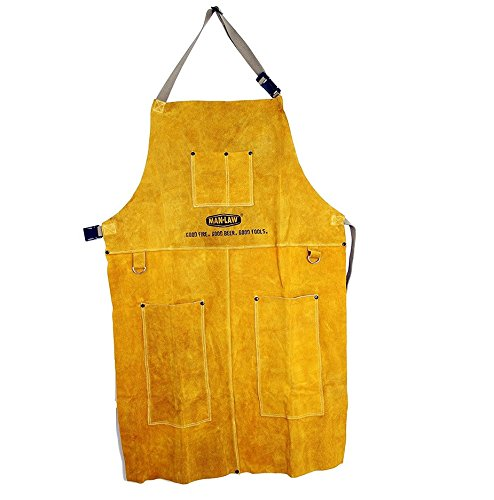 Man Law BBQ Products Protective/Wearable/Outdoor Gear Series Leather Apron, Tan, One Size MAN-LA1