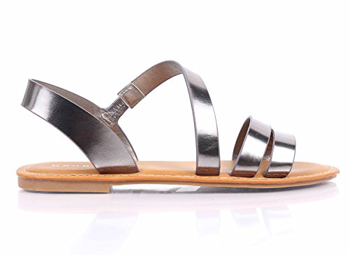 Sandalo Open-toe Gladiatore Con Cinturino Completamente Imbottito Sandalo Slip-on Sandalo Slip-on Scarpe Peltro (senza Fibbia)