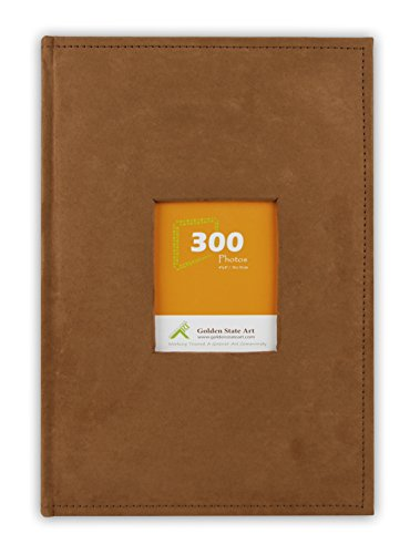 Golden State Art,Photo Album Suede 300 Pockets Large Capacity Holds 4x6 Picture Book Used for Family Wedding Anniversary Baby Vacation Christmas (Rusty Bronze)