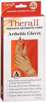 Therall Arthritis Gloves XL Beige - Pair, Pack of 4 by Therall