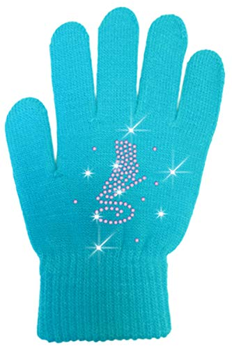ChloeNoel GV22C Black Solid Skate Glove w/Skate Crystals (Adult, Turquoise)