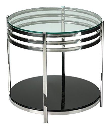 Cortesi Home Lavia Contemporary Two Tier Round Glass End Table Contemporary Two Tier