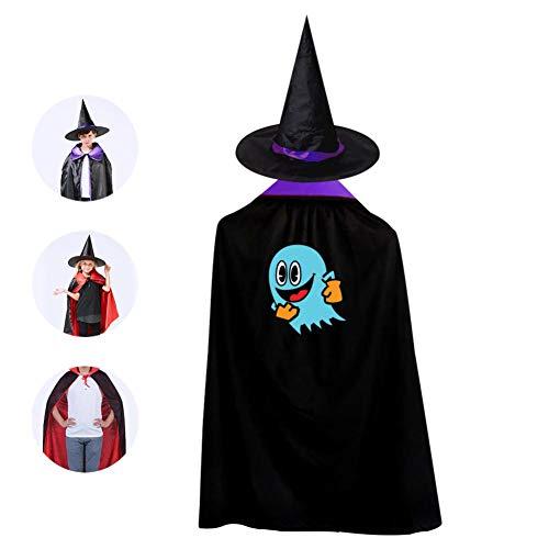 69PF-1 Halloween Cape Matching Witch Hat Blue Ghost Emoji Wizard Cloak Masquerade Cosplay Custume Robe Kids/Boy/Girl Gift Purple]()