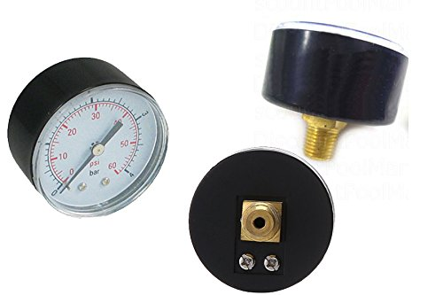 Spa Filter Pressure Gauge (Pressure Gauge 0-60 PSI for Pentair and Hayward pool filter back mount)