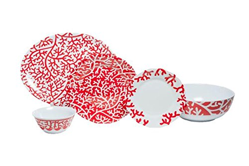 Galleyware Red Coral 14-Piece Melamine Dinnerware Set, Service for 4 with Serving Bowl and Platter