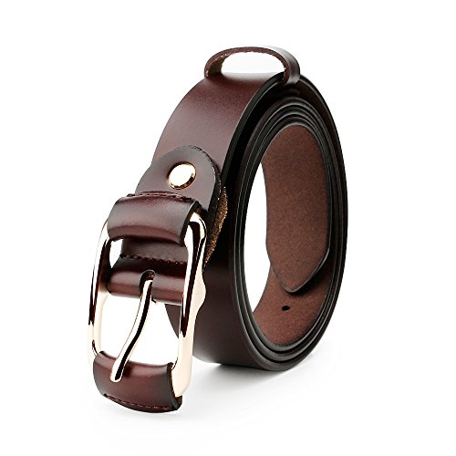 Whippy Fashion Genuine Leather Belt for Women Designer Ladies Belt with Golden - Belt D-ring Classic