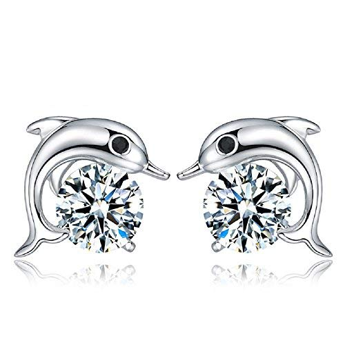 Dolphins Stud Earrings with White Zirconia Crystals 18 ct White Gold Plated for Women and Girls
