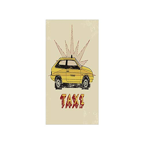 Decorative Privacy Window Film/Pop Art Style Old Fashioned Taxi Cab with Grunge Effects Vintage Car Graphic Decorative/No-Glue Self Static Cling for Home Bedroom Bathroom Kitchen Office Decor Beige -