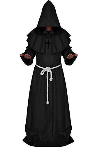 [BeautifulTimes Friar Medieval Robe Hooded Monk Cloak Priest Cape Halloween Costume (Black,Medium)] (Priest Halloween Costumes)