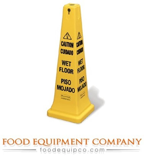 (Rubbermaid FG627677YEL Floor Sign Safety Cone multi-lingual