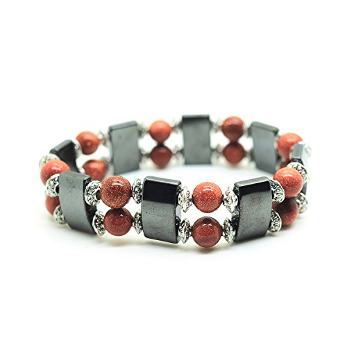 Joyagift Black Magnetic Stretch Simulated Hematite Beaded Bracelet Multi Color 8MM Gemstone Jewelry (Goldstone Magnetic Bracelets)