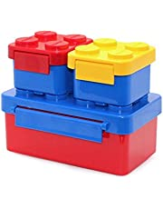 Stackable Lunch Box Bento Box Container Salad Box Oxford Block Brick Design For Children Kids Family Picnic Travel