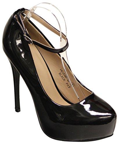 Bella Marie Helena-42 Womens pointy toe platform stiletto ankle strap patent pumps Black