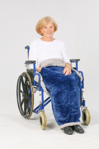 Granny Jo Products Heavyweight Wheelchair Blanket, Navy Face/Grey Back
