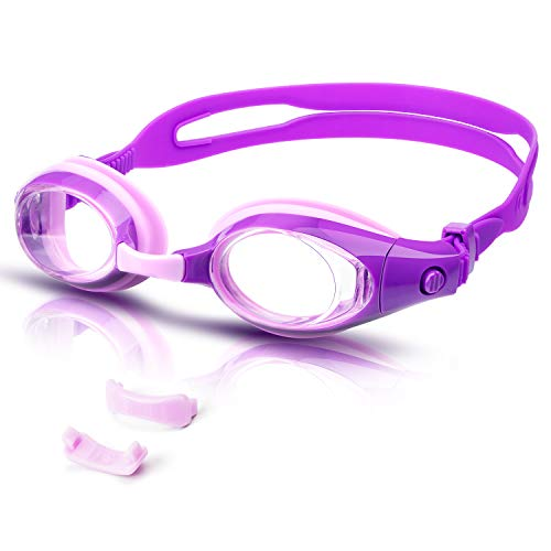 vetoky Kinder Schwimmbrille, Antibeschlag Schwimmbrillen UV Schutz Kristallklare Sicht kein Auslaufen für Mädchen und Jungen Altersgruppen-3 4 5 6 7 8 9 10 11 12 Jahre-mit Gratis Nylontasche