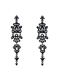 fonk_CA:: Vintage Black Long Earrings with Stones Rhinestones Long Chandelier Earrings Gothic Fashion Jewelry Earrings 34