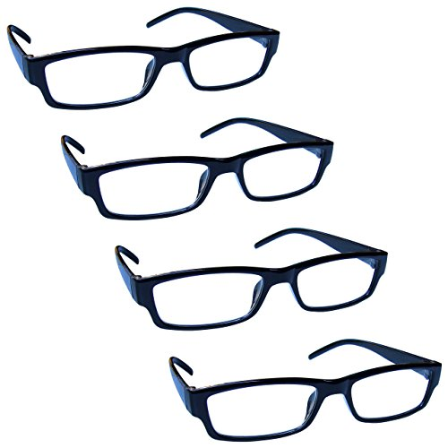 The Reading Glasses Company Black Lightweight Comfortable Readers Value 4 Pack Mens Womens RRRR32-1 +2.00 by The Reading Glasses Company