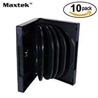 Maxtek Black 10 Disc Capacity DVD Cases with 4 Flip Trays and Outter Clear Sleeve, 10 Pieces Pack