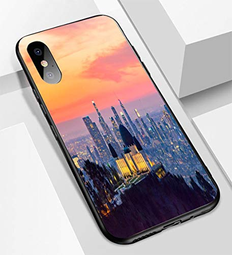 iPhone X/XS Ultra-Thin Glass Back Phone case,Los Angeles Skyline at Dawn Panorama and Griffith Park Observatory in The Foreground Soft and Easy to Protect The Protective case