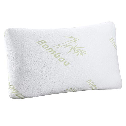 HuiYin PREFERRED INNOVATION consolation & Relax Bamboo Shredded storage devices polyurethane foam Pillow combo along with Bamboo Fiber Cover Zipper extractible Breathable Cooling Hypoallergenic Pillow Cover, Queen