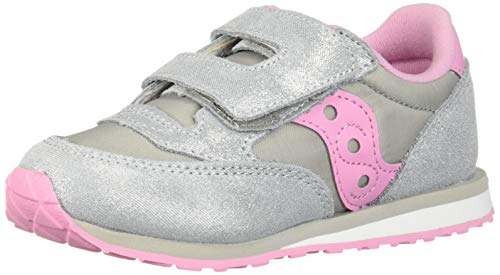 Saucony Girls' Baby Jazz HL Sneaker, Silver/Pink, 085 Medium US Toddler (Saucony Kids Shoes)