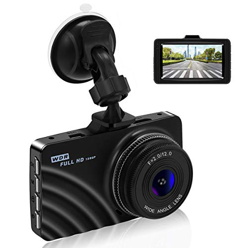 Car Dash Cam,1080P Car Camera Car On-Dash Video DVR Dashboard Recorder with 3.0″ LCD Screen, Night Vision, G-Sensor, WDR, Loop Recording, Parking Monitor Motion Detection