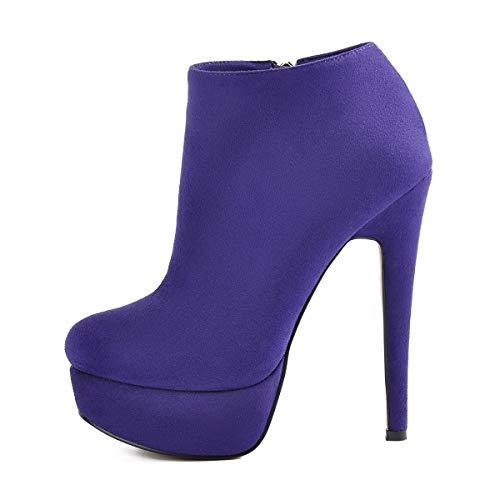 - Onlymaker Platform High Heel Ankle Boots for Women Fashion Pointed Toe Side Zipper Faux Suede Stiletto Short Bootie Purple 11 M US