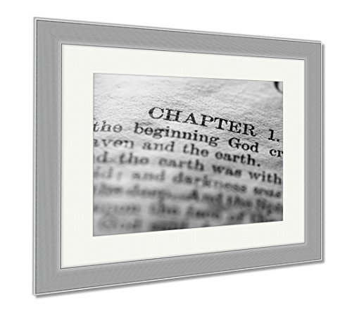 Ashley Framed Prints Close Up Of Old Holy Bible Book, Contemporary Decoration, Black/White, 26x30 (frame size), Silver Frame, AG5500615 by Ashley Framed Prints