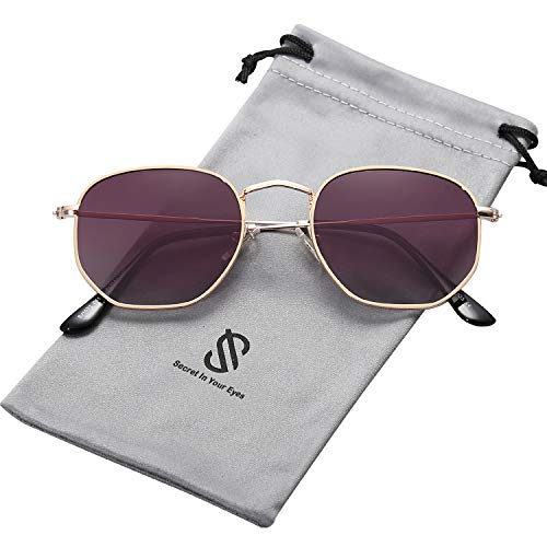 SOJOS Small Square Polarized Sunglasses for Men and Women Polygon Mirrored Lens SJ1072 with Gold Frame/Gradient Purple Polarized ()