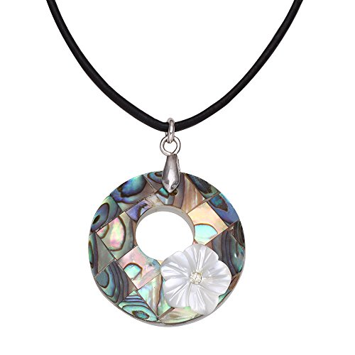 NOUMANDA Punk Round Hollow Flowers Abalone Shell Pendant Leather Necklace Earrings Jewelry Sets (leather necklace)