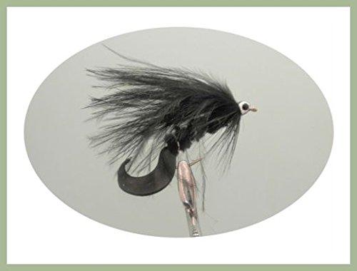 6 pezzi, colore: nero con coda Waggle-Insetti esca per pesca alla trota, misura: 10