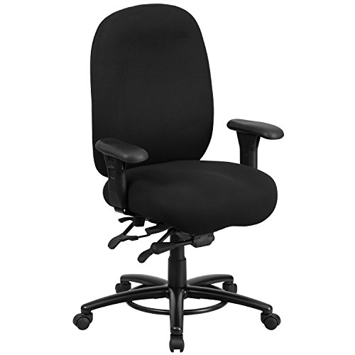 Flash Furniture HERCULES Series 24/7 Intensive Use Big & Tall 350 lb. Rated Black Fabric Multifunction Swivel Chair with Foot Ring