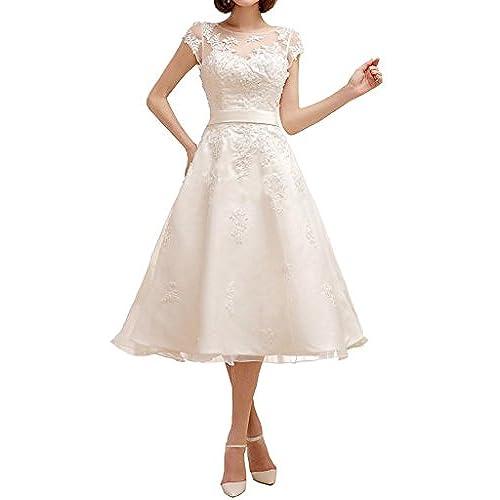 MiLano Bride Chic Tea Length Ball Gown Cap Sleeves Jewel Reception Dresses 18W Light Ivory