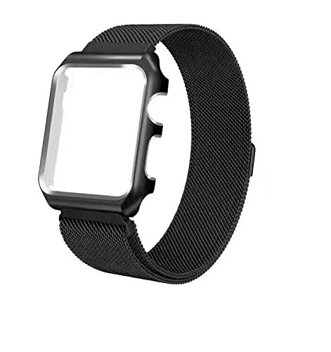 iTerk For Apple Bands With Frame,Milanese Mesh Loop Stainless Steel Metal Replacement Wristband Bracelet Strap Magnetic Buckle Protective Case Bumper Fitfor iWatch Apple Watch Series ()
