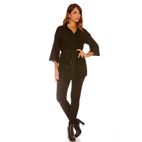 Miss Wear Line Gilet noir en tricot avec ceinture